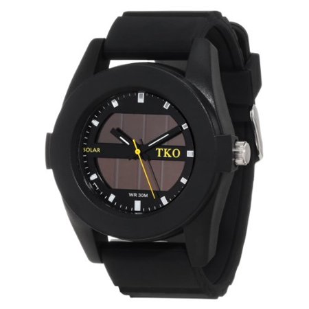 TKO ORLOGI Men's TK587BK Solar Powered Black Rubber Strap Watch