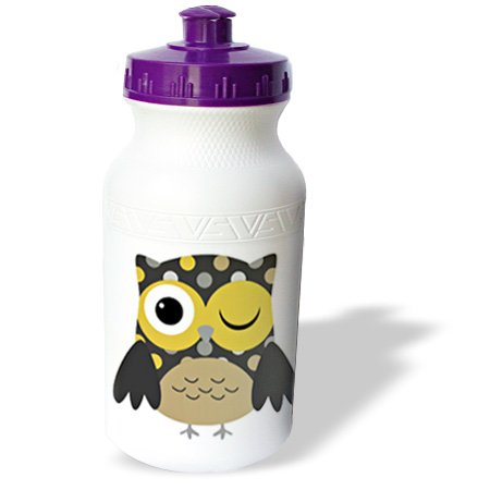 3dRose Cute Yellow Polka Dot Owl, Sports Water Bottle, 21oz