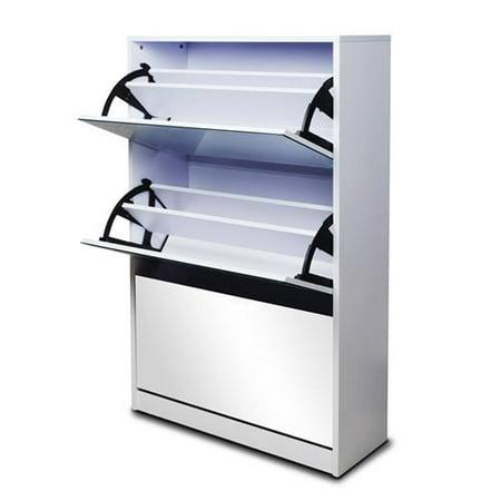 Shoe Cabinet Rack Shelf With Mirror Doors Storage Organizer Entryway White