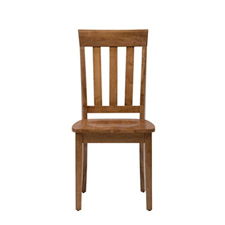 Wooden Slat Back Chair With Straight Feet, Set Of 2, Honey Brown ()
