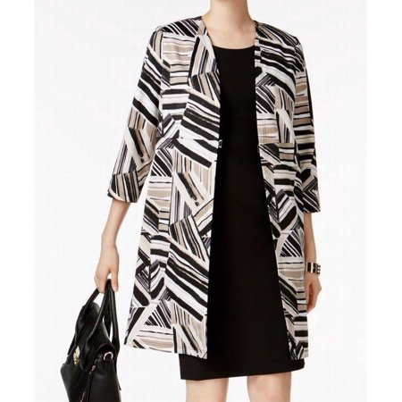 Kasper NEW Black Womens Size 14P Petite Abstract-Print Topper Jacket