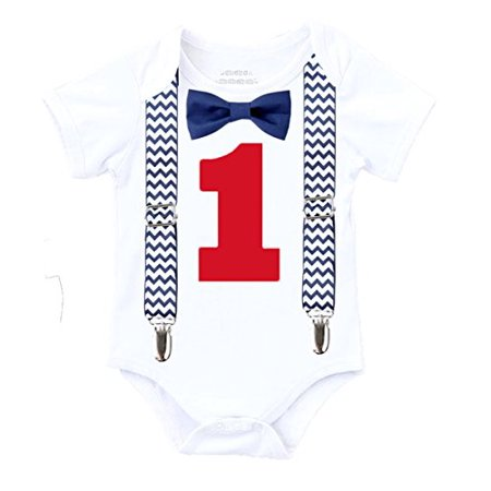 Noah's Boytique Boys Cake Smash Outfit First Birthday Shirt Navy Blue Chevron Suspenders Navy Bow Red Number One 18-24 Months](1st Birthday Boy Outfits)