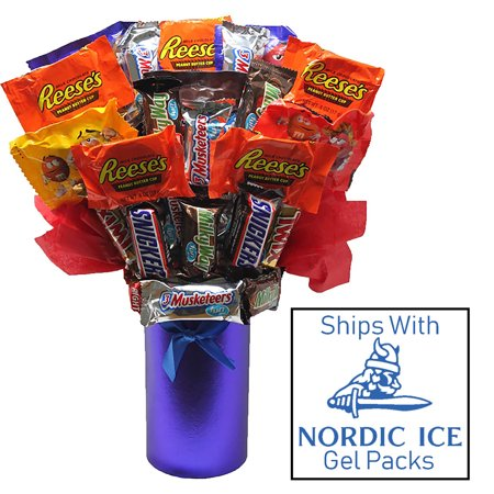 Candy Bouquet Fun Sized Mini Candy Variety Assortment - Congratulations - Birthday (Sunshine Candy Bouquet)