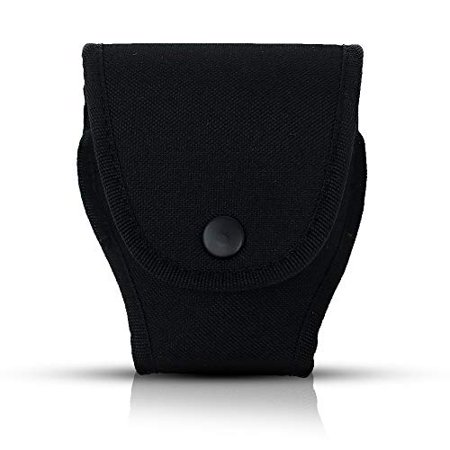 Black Nylon Handcuff Case Pouch - Holder with Secure Snap & Belt Loop by Houston Made of Nylon | Universal Fit | Can be use with Duty Belt and Concealed ()