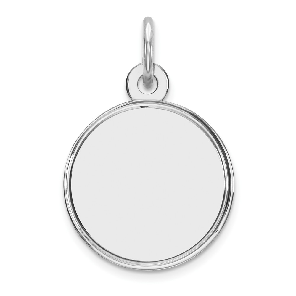 Sterling Silver Engravable Round Disc Charm (0.6in long x 0.5in wide)
