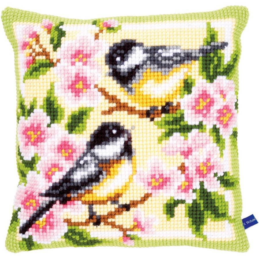 """Birds And Blossoms Cushion Cross Stitch Kit, 15.75"""" x 15.75"""""""