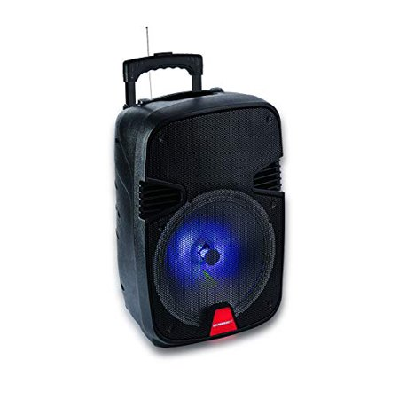 Wireless Light-up Bluetooth Speaker 50W Tailgate Stereo Boombox Pulse Rave Party, 3.5mm Aux Jack, Mic Input, FM Radio Tuner, Micro SD (TF) Card Slot, USB Port, Carrying Handle for Travel