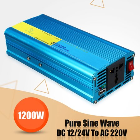 Vehicle Parts 1200W Pure Sine Wave Inverter DC 24V to AC 220V Converter For Caravan