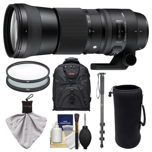 Sigma 150-600mm f/5.0-6.3 Contemporary DG OS HSM Zoom Lens for Nikon Digital SLR Cameras with Backpack + UV & CPL Filters + Pouch + Monopod + Kit