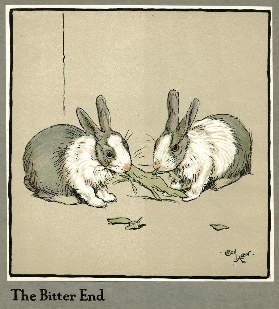 Mary Evans Picture Library Stretched Canvas Art - Humpty And Dumpty The Rabbits Eating A Cabbage - Large 24 x 36 inch Wall Art Decor Size.
