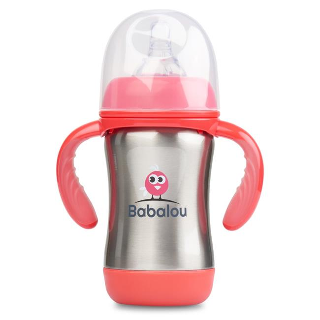 Copia Products BL-180B-PKS 180 ml Babalou Stainless Steel Baby Bottle, Stainless Pink Set
