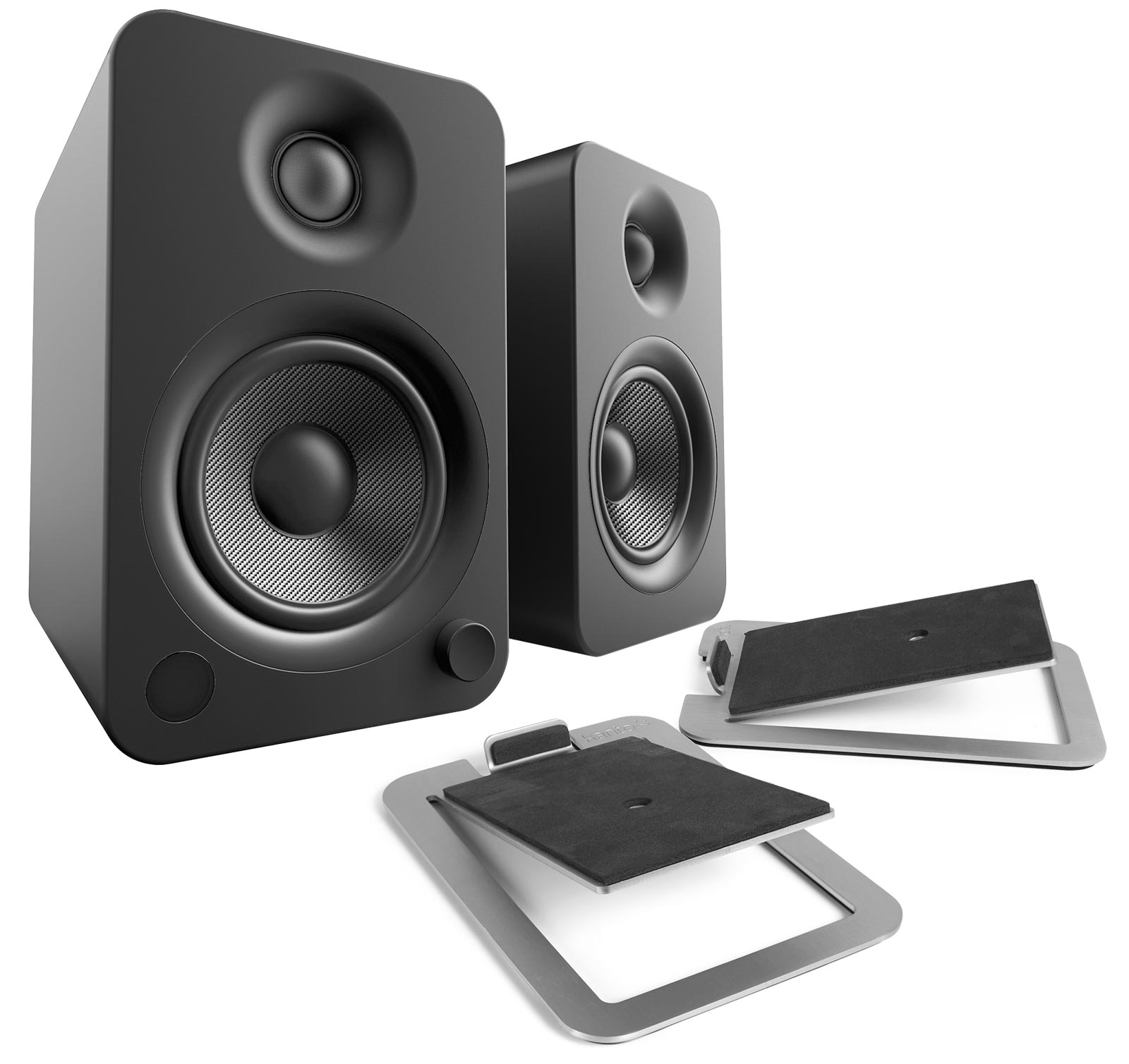 Kanto YU4 Matte Black Powered Speakers with S4 Stainless Steel Desktop Stand Kit