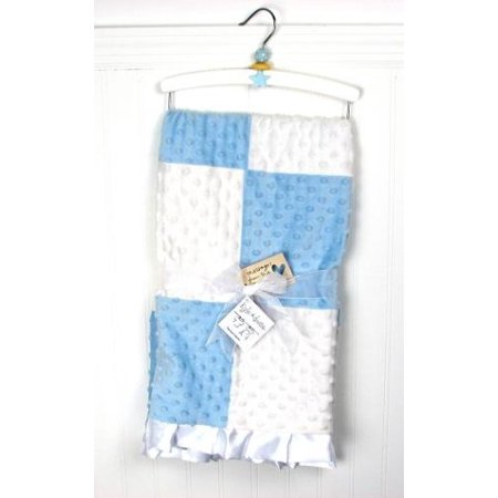 SoHo Kids Collection, Soft Plush Chenille Baby Infant Blanket, Minky Dot, Boutique Blue Boy