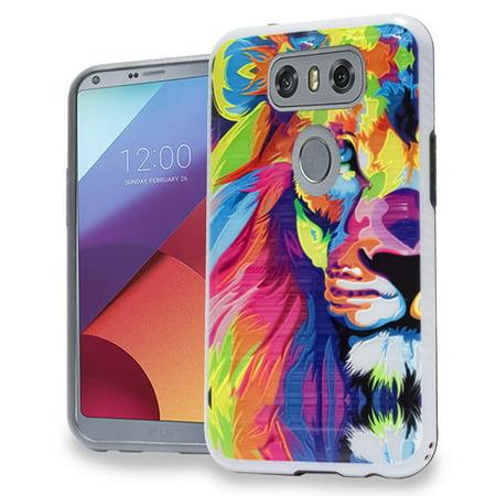 various colors 499a9 4dc24 Mundaze LG G6 Colorful Lion Brushed Armor Anti-Shock Phone Case