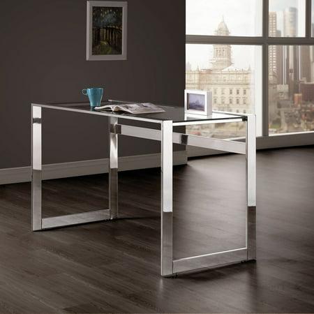 Coaster Company Glasstop Computer Desk, Chrome
