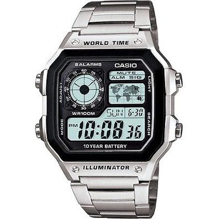 Casio AE1200WHD-1A Men's Stainless Steel World Time 5 Alarms Chronograph Watch Casio Mens Steel Watch