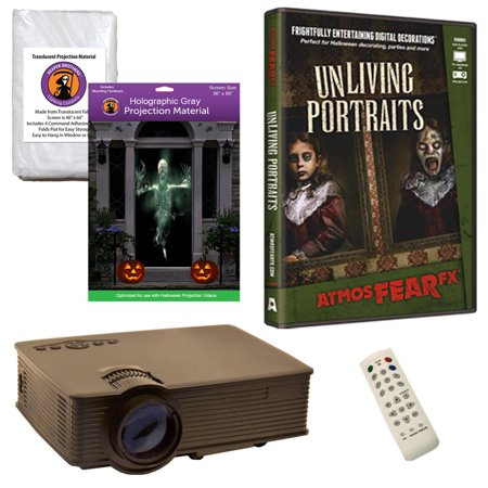 Halloween Projector Kit for Windows, Doors & Walls with Unliving Portraits AtmosFEARFx DVD + 2 Screens + Projector