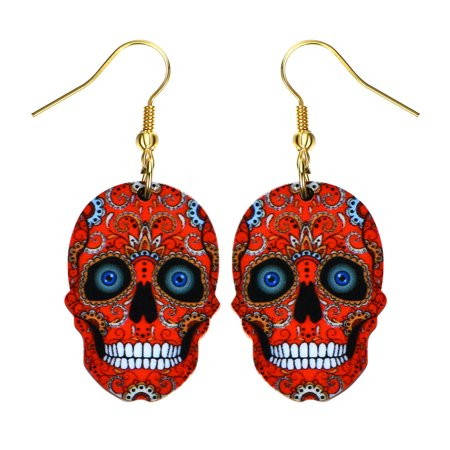 Sugar Skull Earrings (Sugar Skull Earrings Bright Colorful Red Skull Head Colorful Design Earrings)