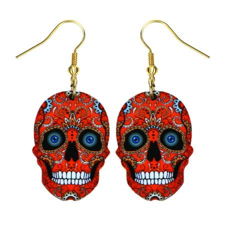 Sugar Skull Earrings Bright Colorful Red Skull Head Colorful Design Earrings (Skull Head Earrings)