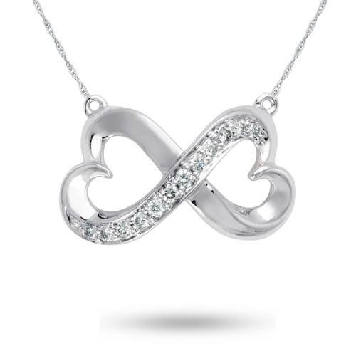 Forever Heart , 10K White Gold and Diamond Pendant