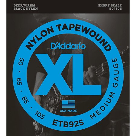 D'Addario ETB92 Black Nylon Tapewound Short Scale Bass Strings Daddario Chrome Bass Strings
