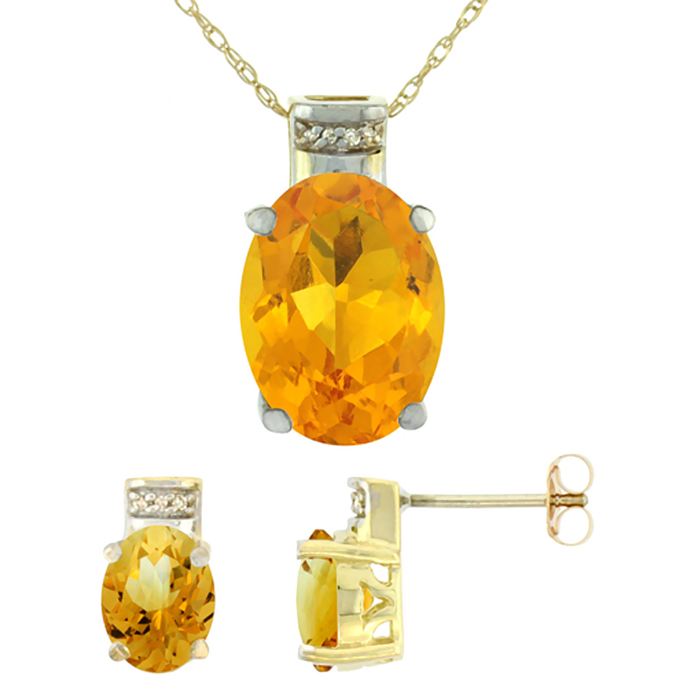 10K Yellow Gold Natural Oval Citrine Earrings & Pendant Set Diamond Accents by WorldJewels
