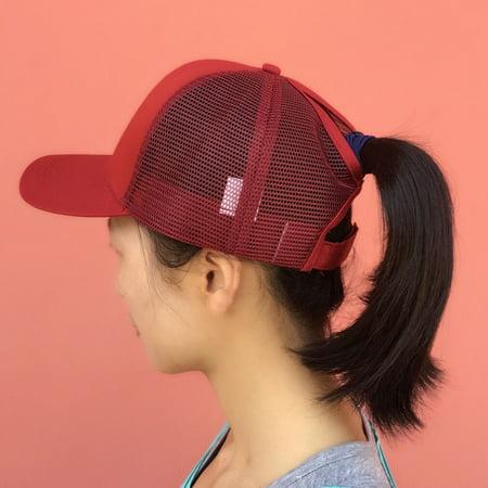 Men Women Mesh Baseball Cap Ponytail Breathable Adjustable Back Trucker Golf Peaked Hat Headwear