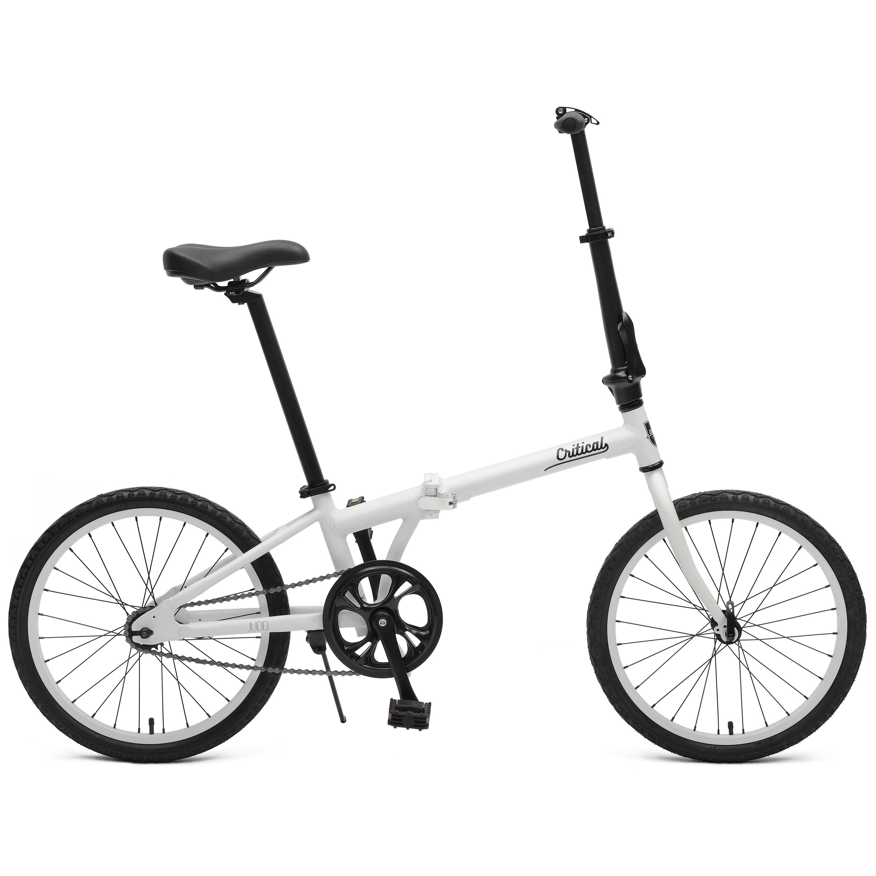 Critical Cycles Judd Single Speed Folding Bike with Coaster Brake (Base UPC 0081572502359), Color Matte White