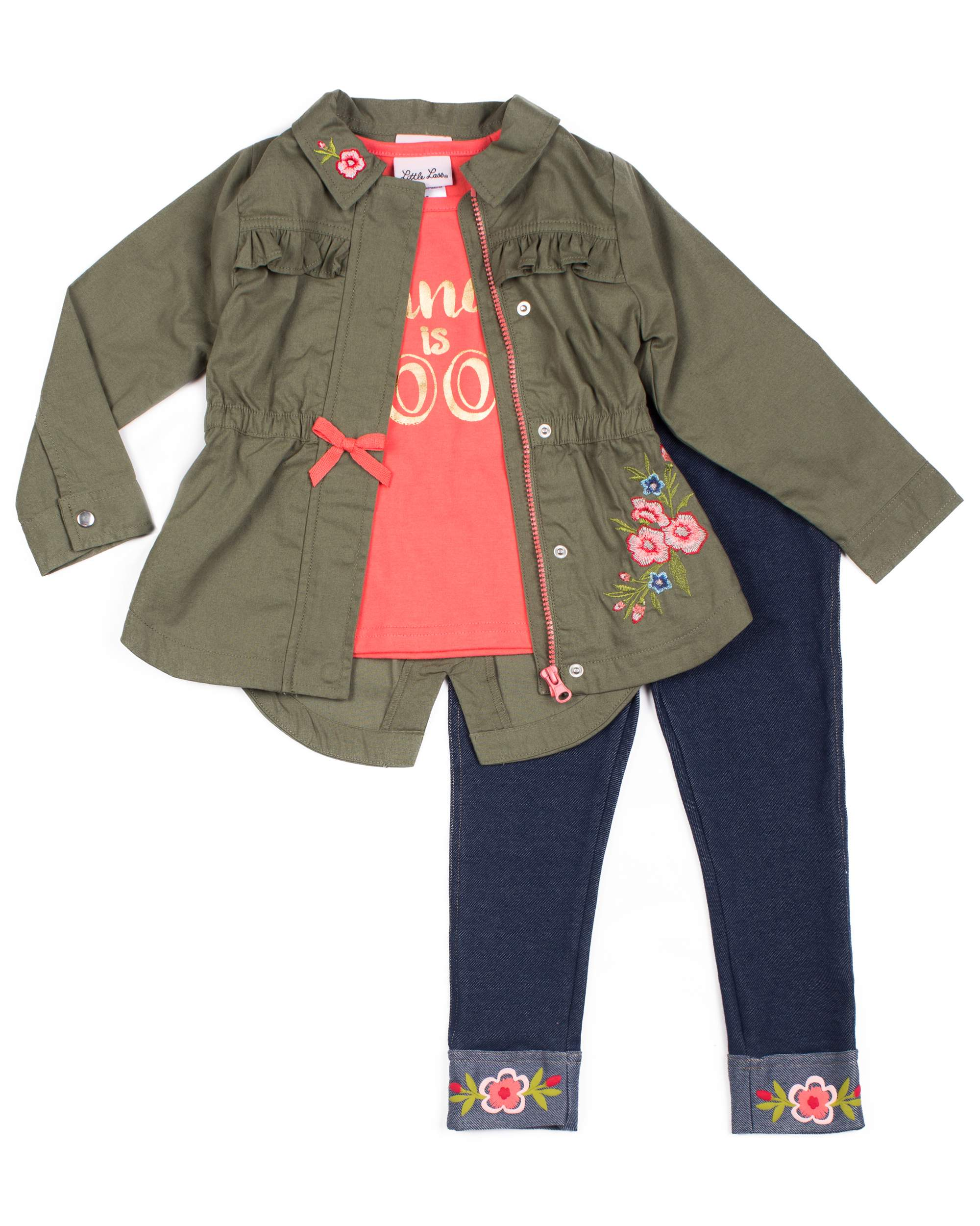 Embroidered Anorak Jacket, Graphic Tee and Knit Denim Legging, 3-Piece Outfit Set (Little Girls)
