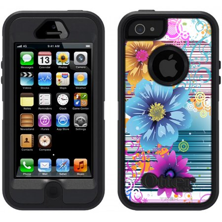 Skin Decal For Otterbox Defender Apple Iphone Se Case   Bright Floral Neon On White Decal  Not A Case