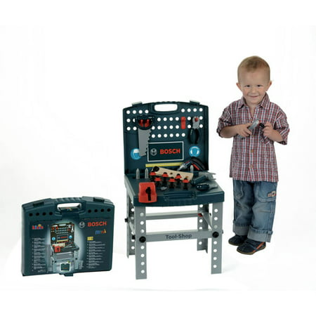 Theo Klein Bosch Toy Tool Shop Play Set With Ixolino Screwdriver, Blue