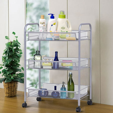 Costway 3 Tier Storage Rack Trolley Cart Home Kitchen Organizer Utility Baskets Sliver (Utility Body Racks)