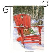"""Winter Gathering Garden Flag Adirondack Chair Apples Squirrel 12.5"""" x 18"""""""
