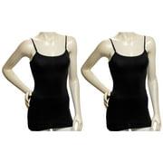 Women 2 Pack Black Cotton Tank Top Camisole Spaghetti Strap Shirt (Small)