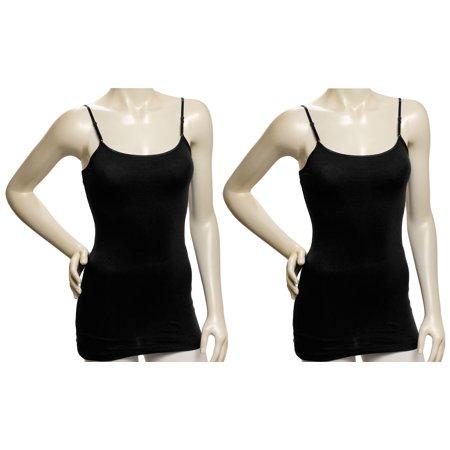 Zenana Women 2 Pack Black Cotton Tank Top Camisole Spaghetti Strap Shirt  Small
