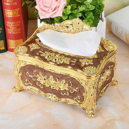 Elegant Gold Tissue Box Cover Chic Napkin Case Holder Hotel Home Decor Organizer For Home & Kitchen & Car
