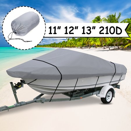 210D Grey Boat Mooring Cover 11 12 13 FT Beam 105inch Trailerable Storage