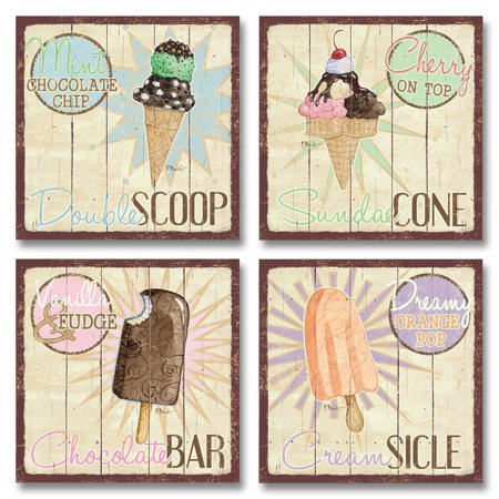 Vintage Ice Cream Shop Set, Double Scoop, Sundae Cone, Creamsicle, Chocolate Bar; Kitchen Décor; Four 12X12 Poster Prints