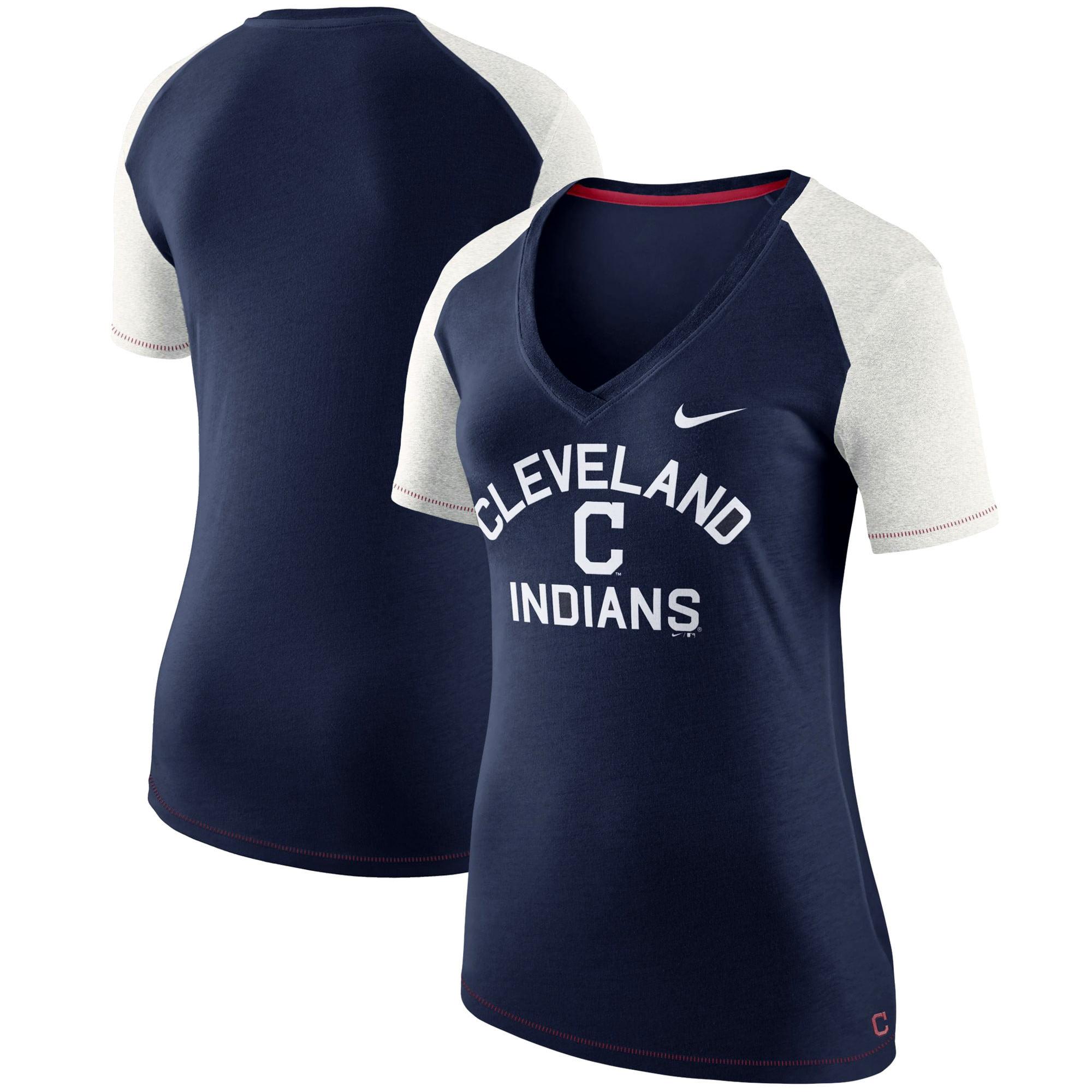 Cleveland Indians Nike Women's V Fan T-Shirt - Navy