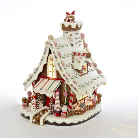 "KSA 12"" Lighted Candy-trimmed Gingerbread House Table Top..."