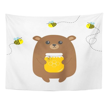 Honeycomb Dish - REFRED Grizzly Brown Bear Holding Honey Jar Honeycomb Flying Bee Insect Dash Line Track Cute Cartoon Funny Kawaii Wall Art Hanging Tapestry Home Decor for Living Room Bedroom Dorm 51x60 inch