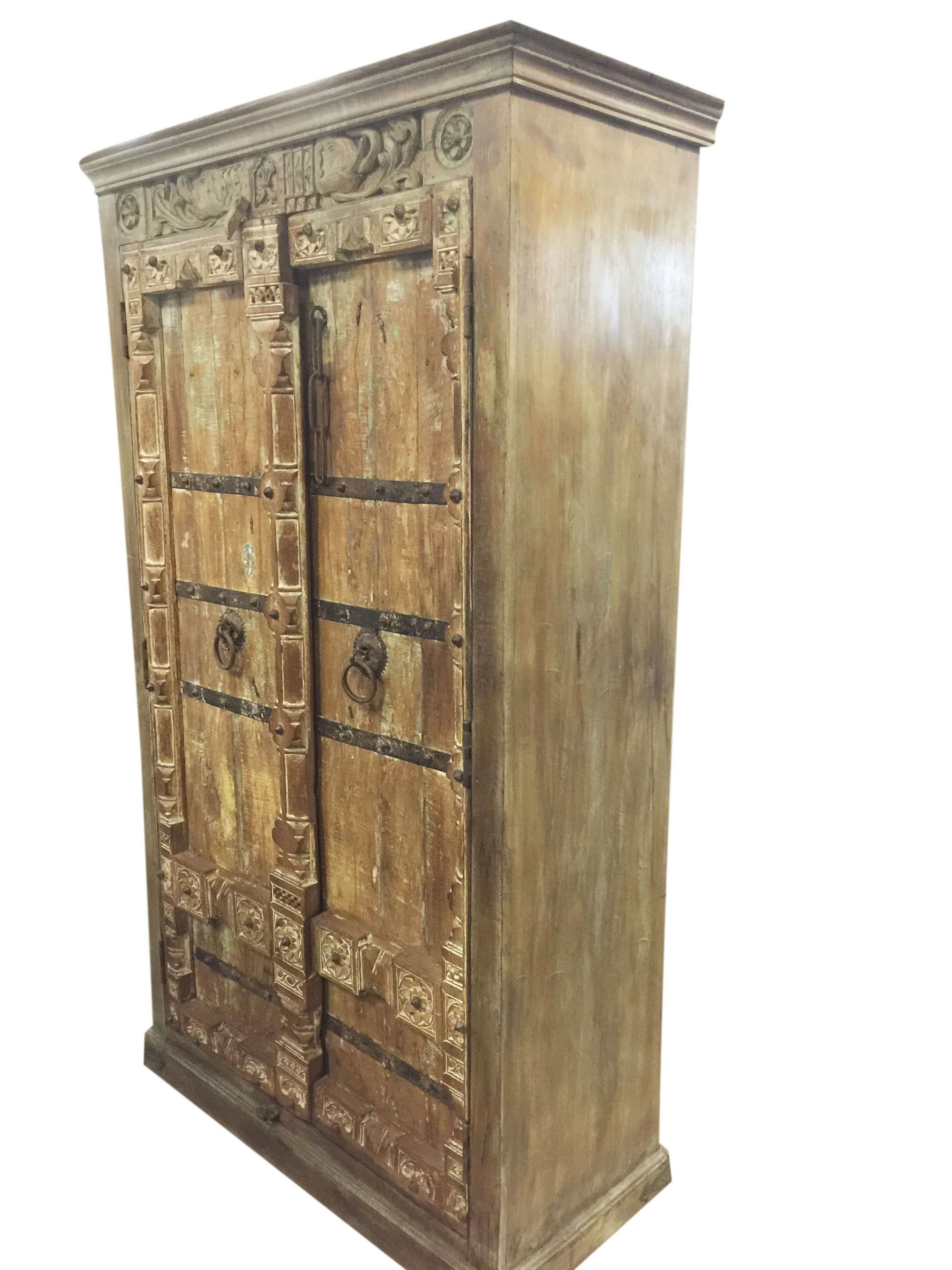 Ordinaire Mogul Antique Wardrobe Old Doors Indian Furniture Iron Storage Cabinet  Armoire NATURAL WOOD Decor