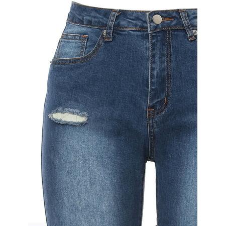 Unique Bargains Women Mid Rise Stretch Distressed Design Skinny Jeans Blue XL - image 1 de 7