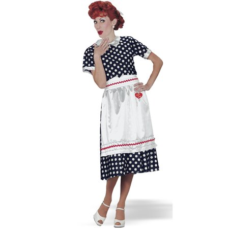 I Love Lucy Polka Dot Dress Adult Halloween Costume (Navy Nurse Halloween Costume)