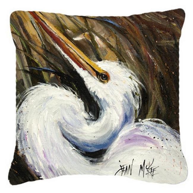 Carolines Treasures JMK1214PW1414 White Egret Canvas Fabric Decorative Pillow - image 1 de 1