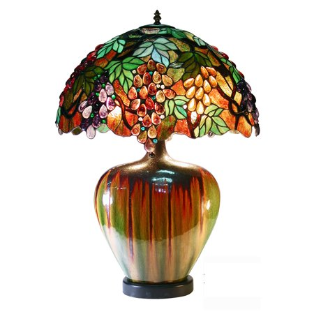 Tiffany Grape Hanging (Tiffany Style Grape Lamp With Ceramic)