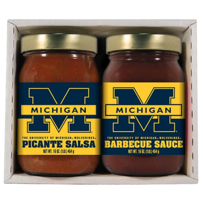Michigan Wolverines NCAA Double Play (16oz BBQ Sauce, 16oz Picante Salsa)