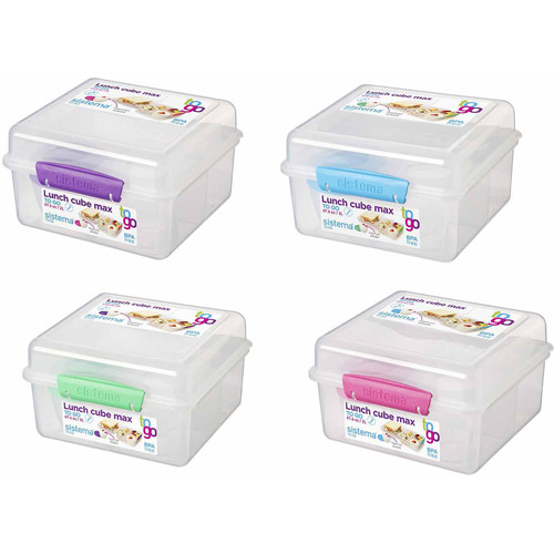 Sistema Us Inc 21745 2 Liter Clear Lunch Cube Max Box To Go With Yogurt Pot