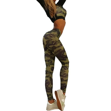 Sports Gym Yoga Running Fitness Leggings Women Athletic Clothes Camouflage Crop Tops+Pants Trousers Sets