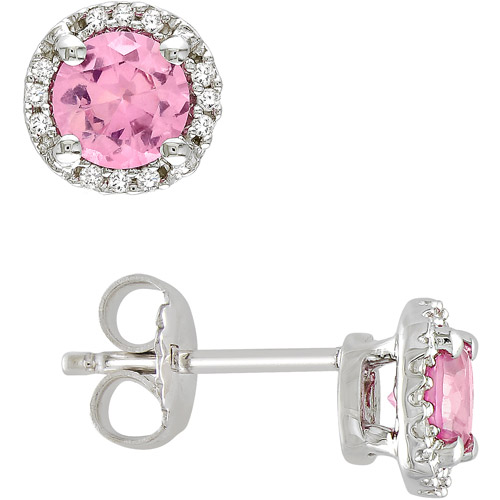 1-1/6 Carat T.G.W. Round Pink Sapphire and Diamond Accent Sterling Silver Earrings